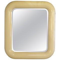 Rounded Edges Rectangular Goat-Skin Mirror
