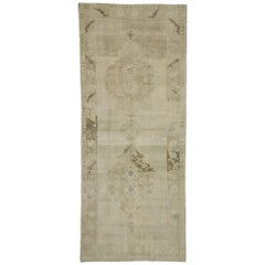 Vintage Turkish Oushak Rug with Monochromatic Mission Style, Wide Hallway Runner