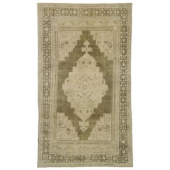 Vintage Turkish Oushak Rug with Swedish Farmhouse and Cottage Style