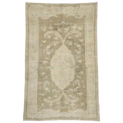Vintage Turkish Oushak Rug with French Aubusson and Monochromatic Mission Style