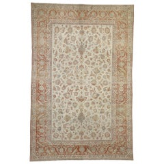 Distressed Antique Persian Isfahan Rug with Relaxed Federal Style