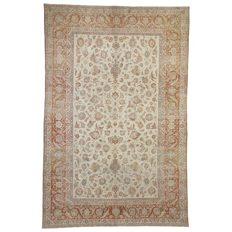 Distressed Antique Persian Isfahan Rug with Relaxed Federal Style, Esfahan Rug For Sale