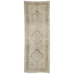Vintage Turkish Oushak Runner with Mission Style and Warm, Earth-Tones