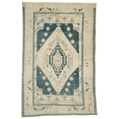 Vintage Turkish Oushak Rug with American Craftsman Style
