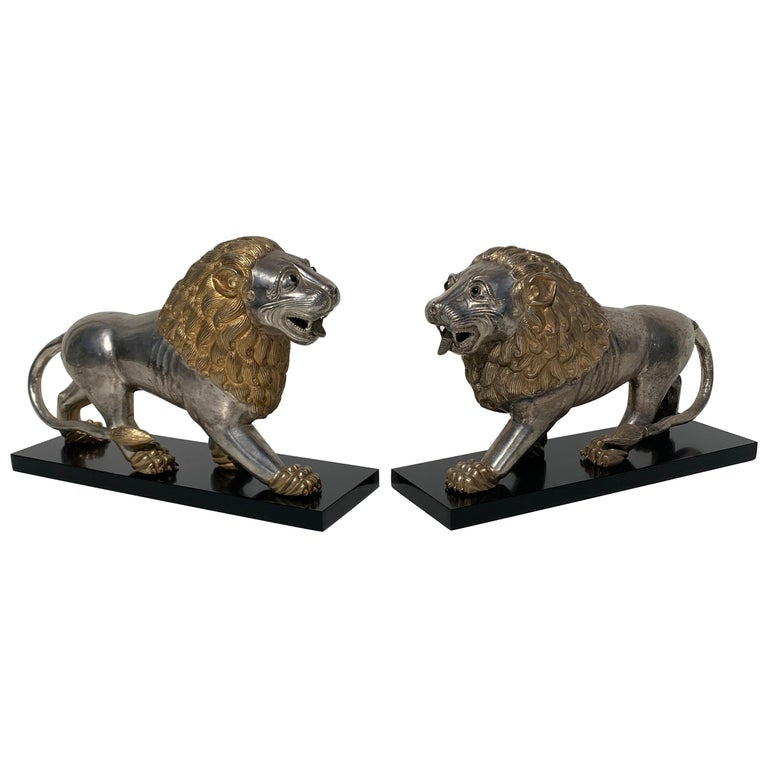 Pair of Silvered Brass Anglo Indian Lion Sculptures Bookends For Sale