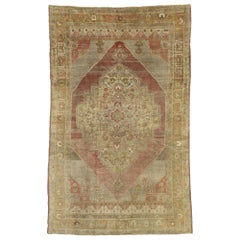 Distressed Vintage Turkish Oushak Rug with Rustic Jacobean Style