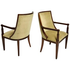 Pair of Mahogany Wood and Beige Mohair Velvet Armchairs, France Circa 1840