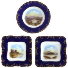 Wedwood 'England' Hand Painted Cabinet Plates Depicting UK Landmarks, 3