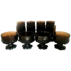 1970s America Blown Glass Footed Stem Drink Glasses by Franciscan, Set of 12