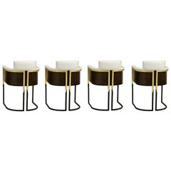 Set of 6, Art Deco Styled Dining Chairs in Wood & Metal - Upholstered in COM