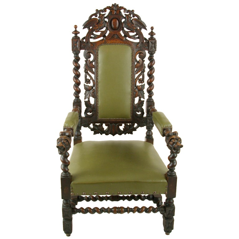 Antique Oak Chair, Victorian Carved Barley Twist Chair, Scotland 1880s, B1333 For Sale