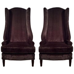 Mid-Century Modern Tall Wing Back Chairs, Pair