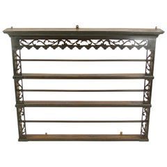 Antique Plate Rack, Large Antique Victorian Carved Oak Hanging Plate Rack