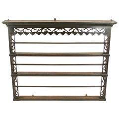 Antique Plate Rack, Large Antique Victorian Carved Oak Hanging Plate Rack