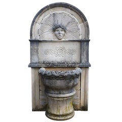 Wall Fountain in Limestone Dite 'Dainvilloise' Handcrafted, France