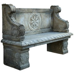 Italian Renaissance Style Bench Handcrafted in Limestone, 20th Century