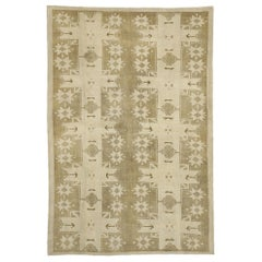 Vintage Turkish Oushak Rug with Rustic American Style