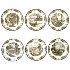 "1950s English Transferware ""The Friendly Village"" Dinner Plates Set of Six"