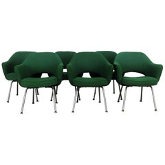 Six Iconic Saarinen Green Executive Chairs by Knoll