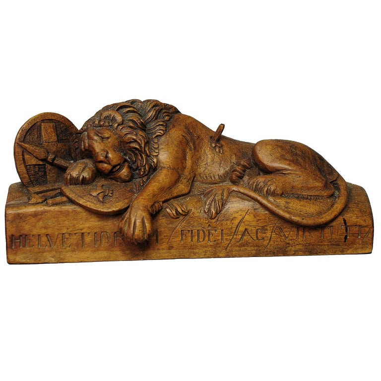 Antique Wooden Sculpture of the Lion of Lucerne For Sale