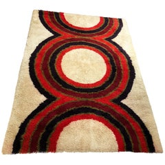 Extra Large Danish Modern Wool Rya Rug Tapestry by Hojer Eksport Wilton, 1960s