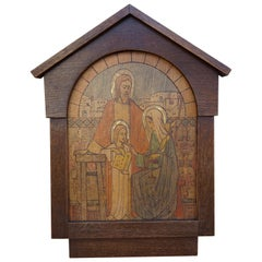 Icon Like Art Deco Wall Plaque of Young Jesus, Joseph & Mary by Gerard Gerrits