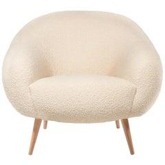 Oscar Niemeyer Midcentury 1950s Inspired Bouclé Fabric Armchair