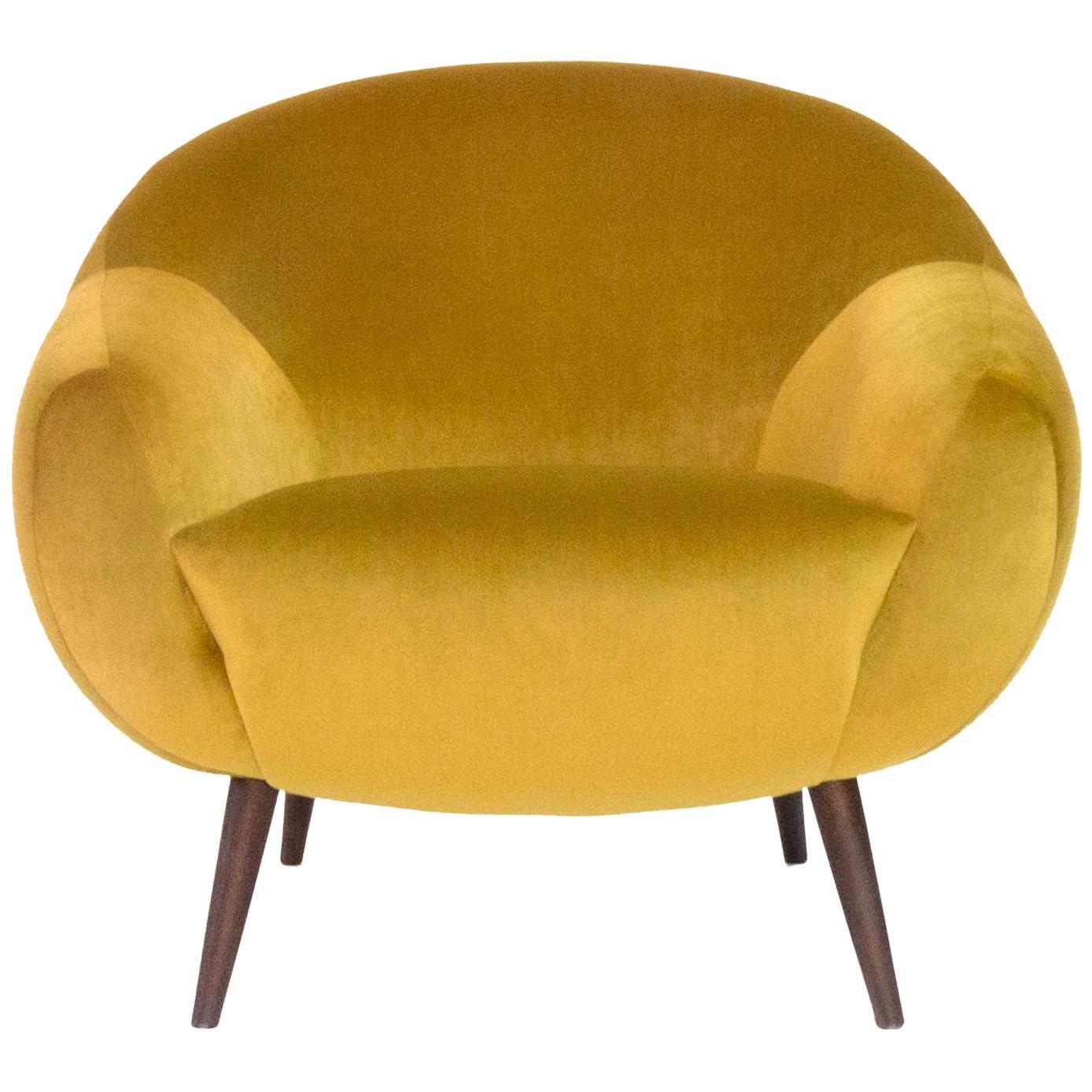Oscar Niemeyer Midcentury 1950s Inspired Cotton Velvet Fabric Armchair