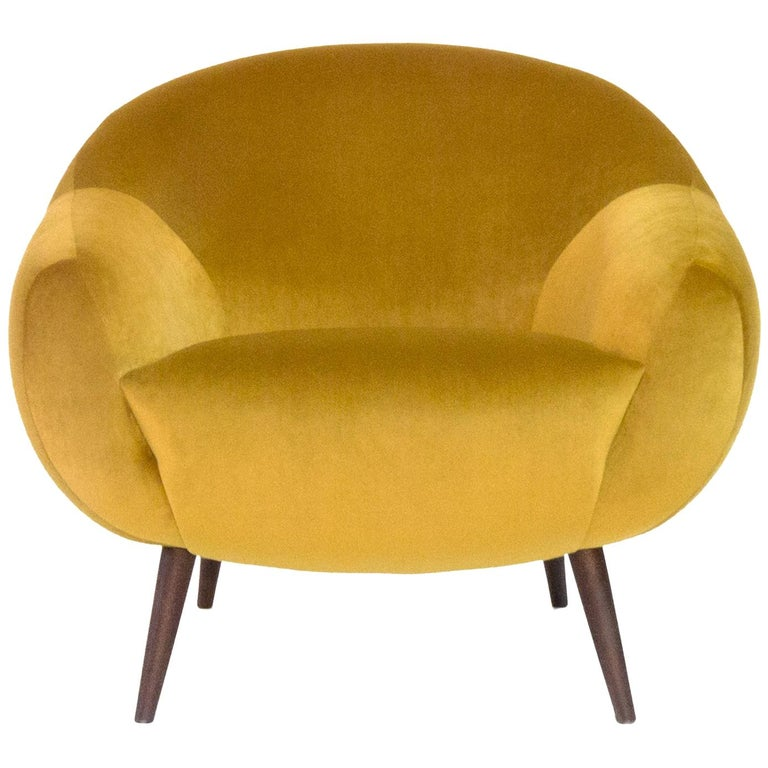 Oscar Niemeyer Midcentury 1950s Inspired Cotton Velvet Fabric Armchair For Sale