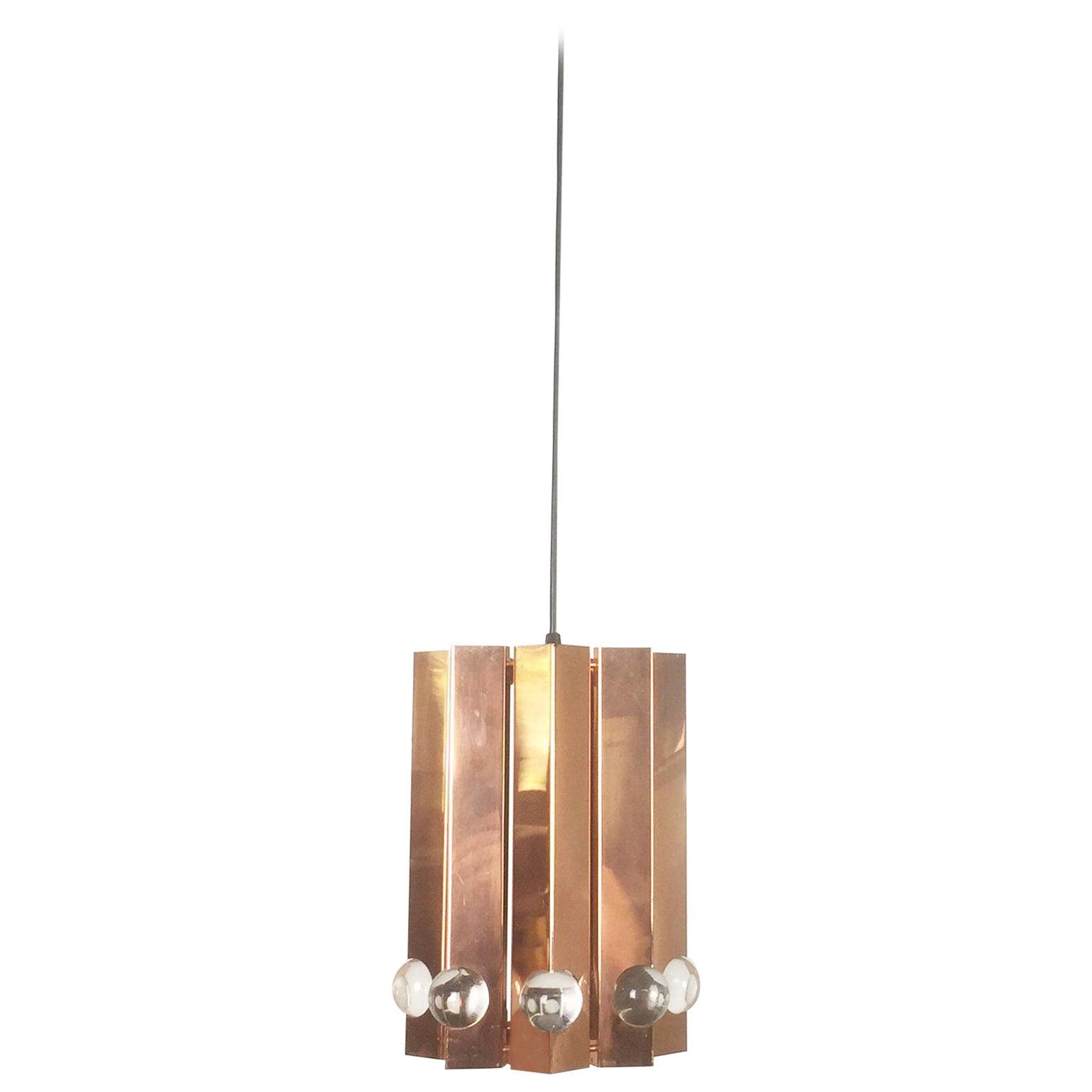 Scandinavian Danish Hanging Lamp in Copper with Glass Balls, 1960s