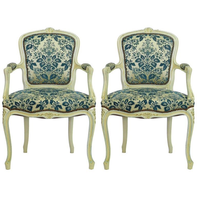 Pair of Louis XV Style Armchairs French Upholstered Vintage, Early 20th Century For Sale