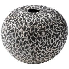 Contemporary Black and White Ceramic Globe Vase, Boule Plumes