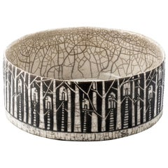 Contemporary Black and White Ceramic Bowl, Arbres Habités