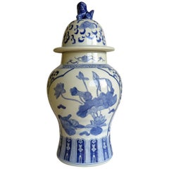 Large Chinese Lidded Vase Blue and White Porcelain Hand Painted Mid-20th Century