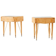 Pair of Italian Yellow Maple Wood and Grey Glass Bedside Tables, 1950s