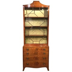 Flame Mahogany George III Style Antique Cabinet or Bookcase.