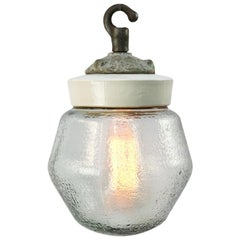Porcelain Frosted Glass Vintage Industrial Cast Iron Hanging Light Pendants