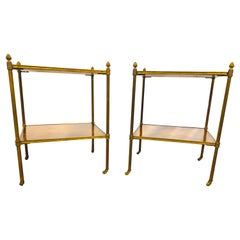 19th Century Regency Inlaid and Brass Side Tables