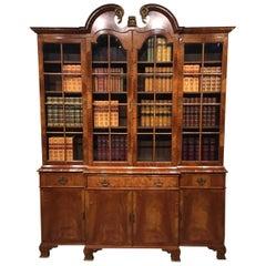 Superb Figured Walnut 1920s Period Antique Breakfront Bookcase