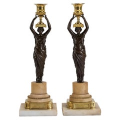 French Louis XVI Period, Pair of Patinated and Gilded Candlesticks, circa 1780