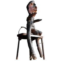Early 20th Century Anthropomorphic Outsider Folk Art Seated Figure