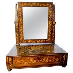 18th Century Dutch Walnut Inlaid Dressing Table Mirror