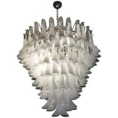 Mazzega Mid-Century Modern White Murano Glass Selle Chandelier, 1988s