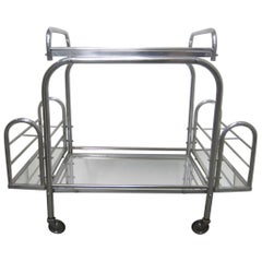 French Modernist Chrome Bar Cart with Removable Tray by Jacques Adnet