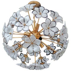 Modernist Italian Murano Venini Style Flower Glass Gilt Chandelier