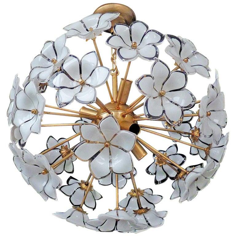 Modernist Italian Murano Venini Style Flower Glass Gilt Chandelier
