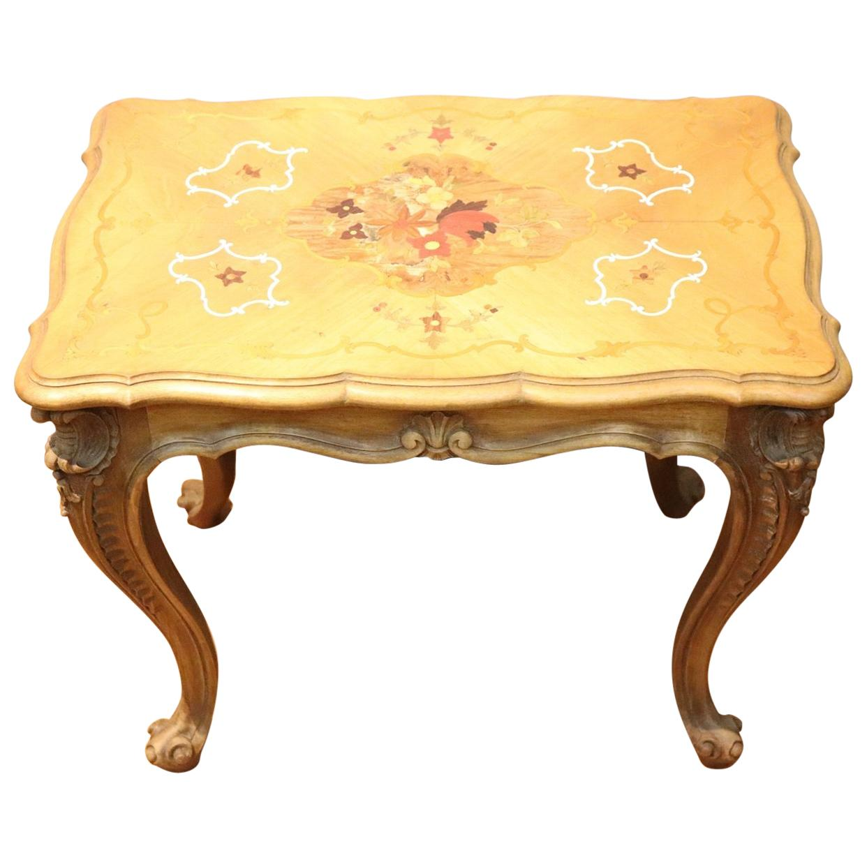 20th Century Louis XV Style Inlaid Wood Side Table or Sofa Table