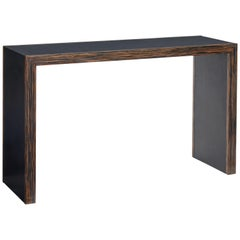 Coromandel and Leather Console Table