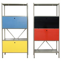 Set of Two Metal Shelving Cabinet by Wim Rietveld Model 663 for Gispen, 1954