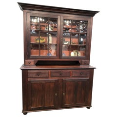 Stepback Two-Piece Glass Door Flat Wall Cupboard Cherry circa 1810 American